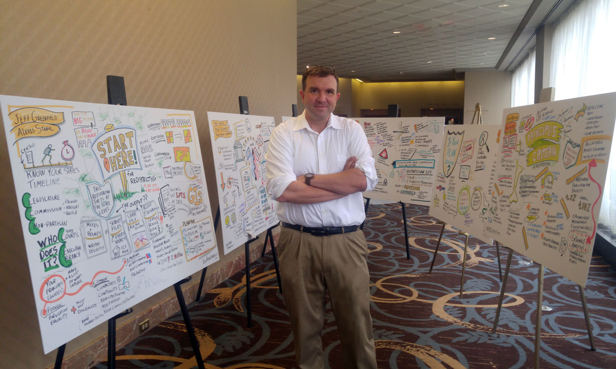 Man Standing with 6 graphic recording panels on easels