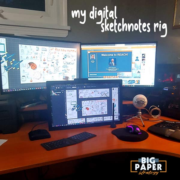 A Picture of Computer equipment on a desk- showcasing tools used for virtual sketchnotes