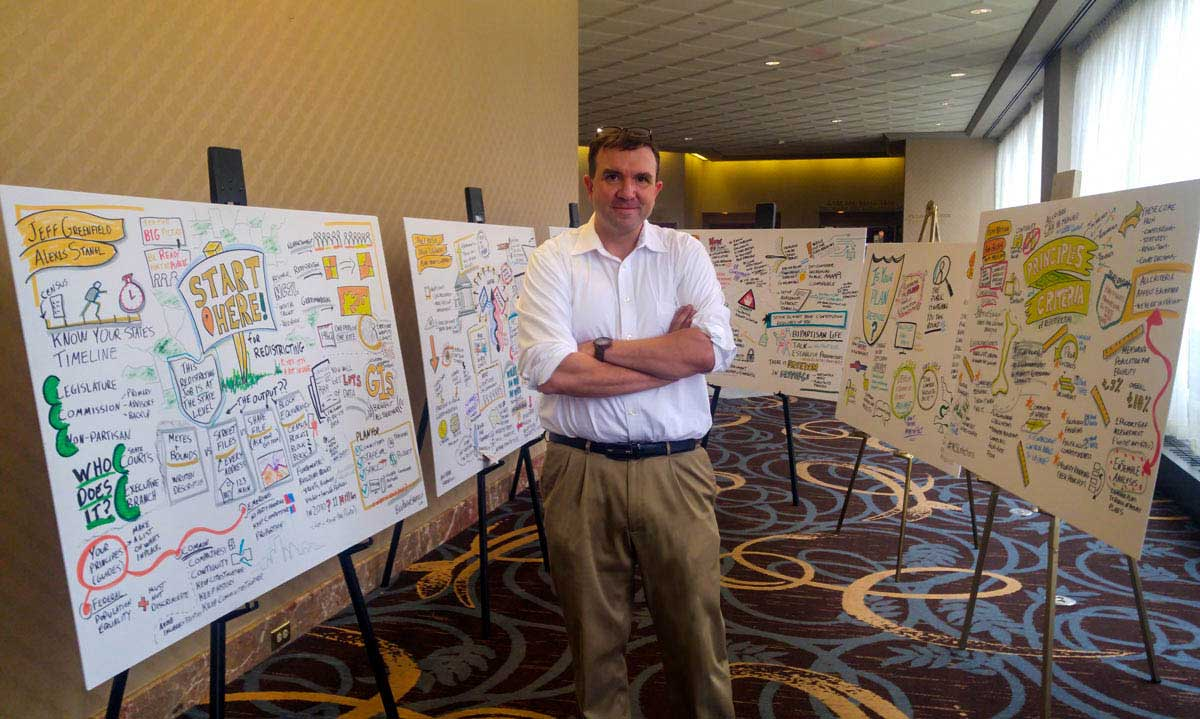 A Photograph of Matt Orley standing in front of a graphic recording, also known as a large sketchnote.