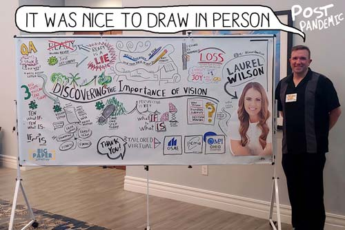 Matt Orley standing in front of his Graphic Recording Project