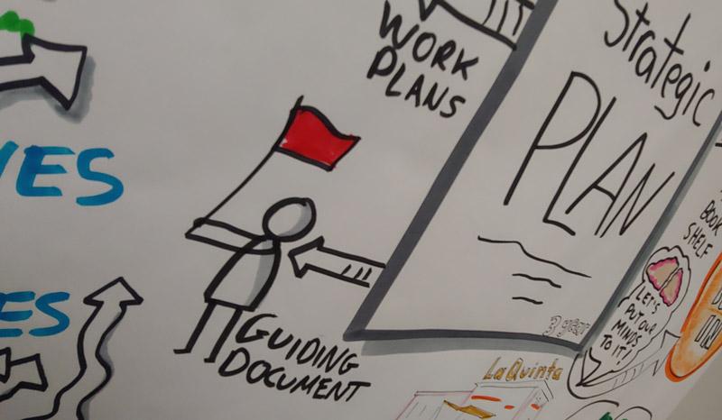 Strategic Plan Illustrated with Stick Figure