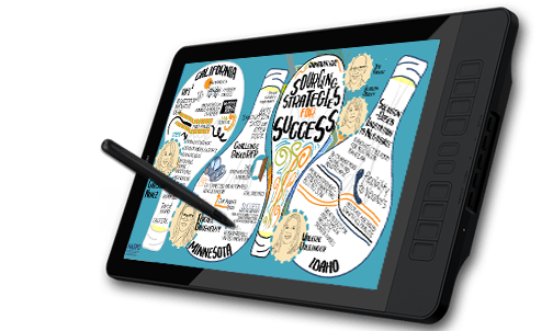 An Image of a tablet used for graphic recording for virtual events, also known as digital sketchnotes